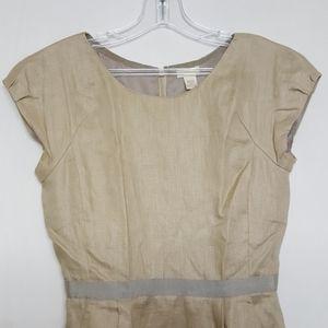 J. Crew Linen Khaki Short Sleeve Dress